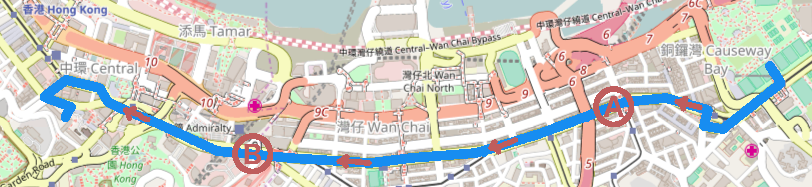 Route of the 1st of July 2006 demonstration in Hong Kong. The two points A and B indicate the location of the two counting points. Courtesy goes to Open Street Map.